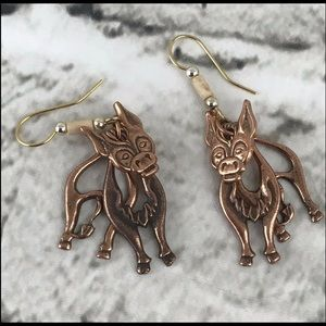 Jewelry - Copper Cow Earrings Articulated Wire Hook